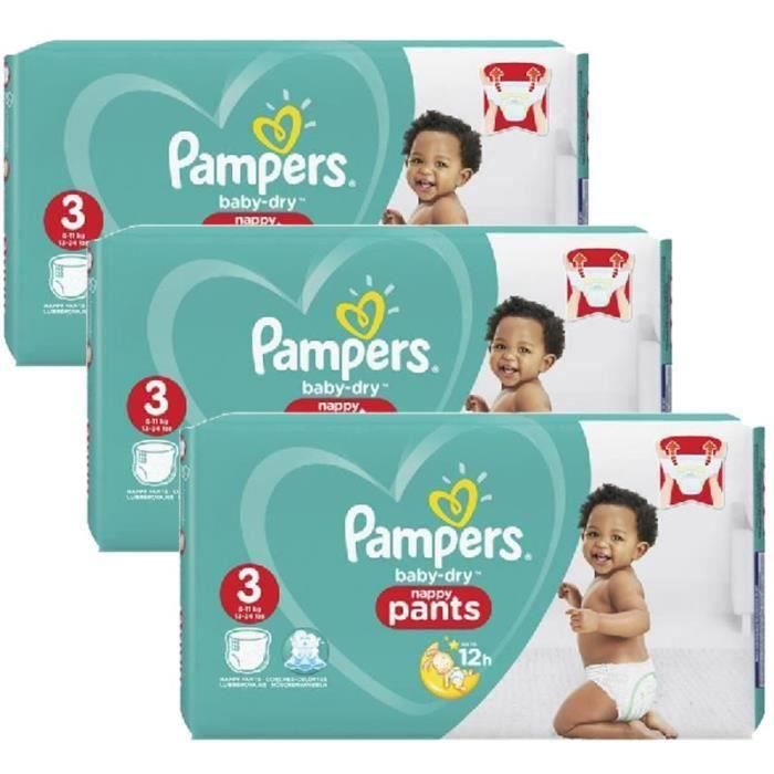 Pampers - 286 couches bébé Taille 3 baby dry pants