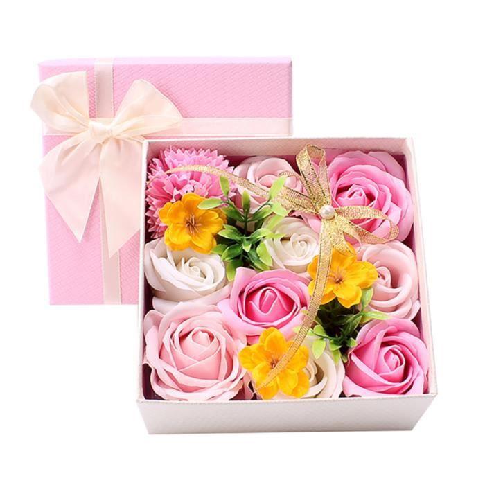 1 boîte cadeau carrée belle savon fleur rose de vacances FLEUR-PLANTE ARTIFICIELLE - FLEUR SECHEE
