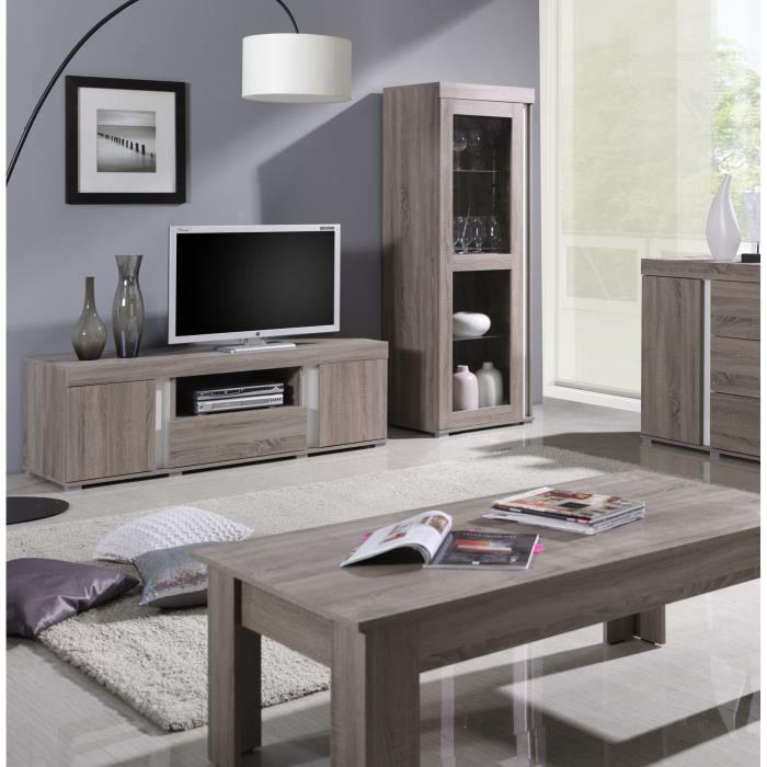 Ensemble AVIGNON pour salon. Meuble TV + Vitrine petit modèle (avec LED). 52 Marron