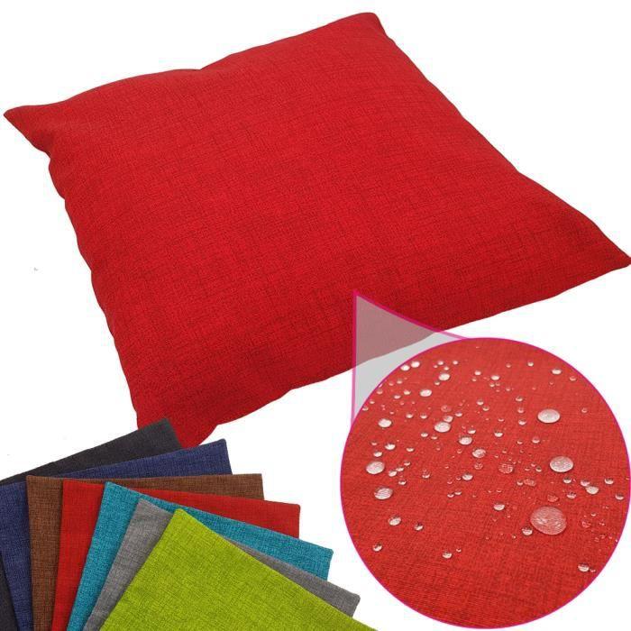 Coussin imperméable Tino 40 x 40 cm idéal pour extérieur de proheim - Coussin décoratif coloré résistant aux taches en rouge
