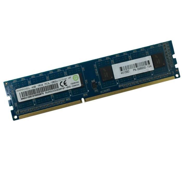 4Go Ram Ramaxel Rmr5030eb68f9w Ddr3 Pc3 12800U 1Rx8 1600Mhz 240Pin Pc Bureau