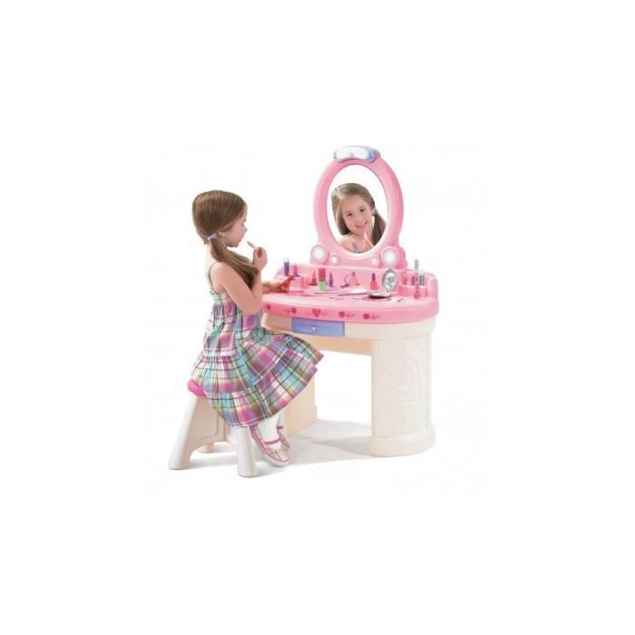 STEP2 coiffeuse Fantasy Vanity pour enfant fille 3 ans miroir tabouret tiroir rose et blanc