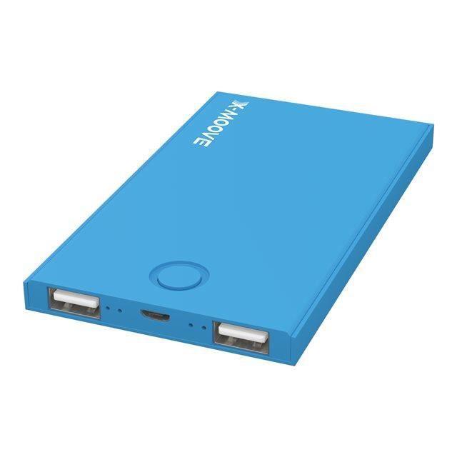 X-Moove Powergo Mini Duo Batterie externe pour Smartphone/Tablette 4000 mAh Bleu