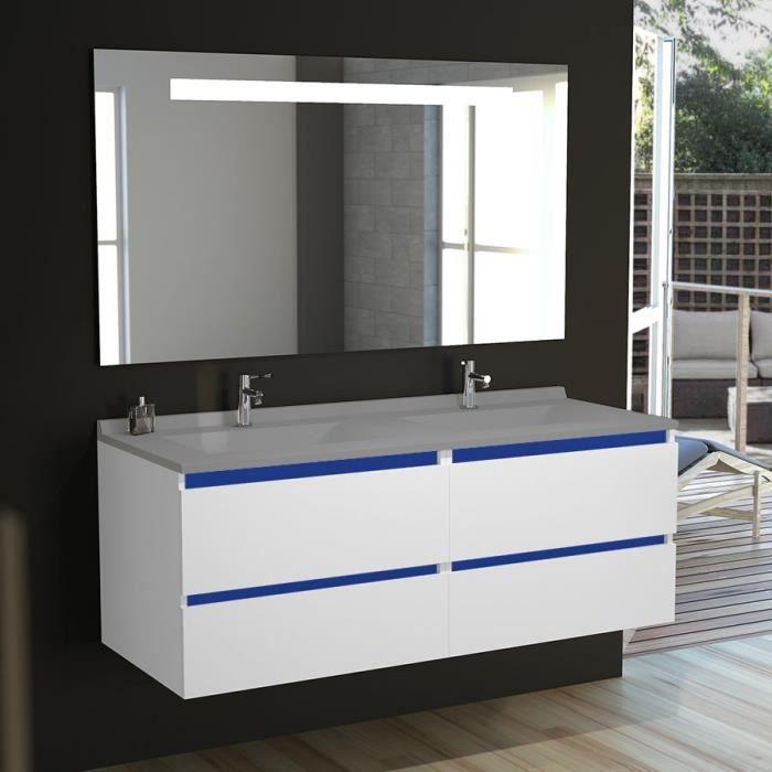 Meuble salle de bain double vasque ARLEQUIN 140x55 - 5 ...