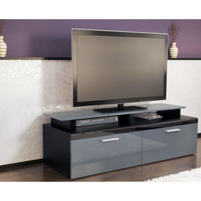meuble tv noir gris 140 cm achat vente meuble tv. Black Bedroom Furniture Sets. Home Design Ideas