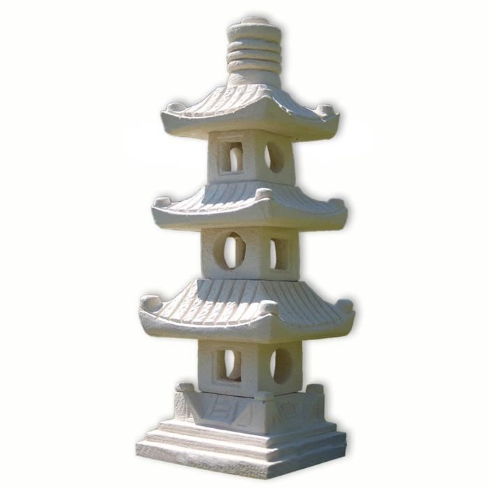 lampe pagode japonaise 3 niveaux clairage ext rieur gr s tha lande 10511 achat vente. Black Bedroom Furniture Sets. Home Design Ideas