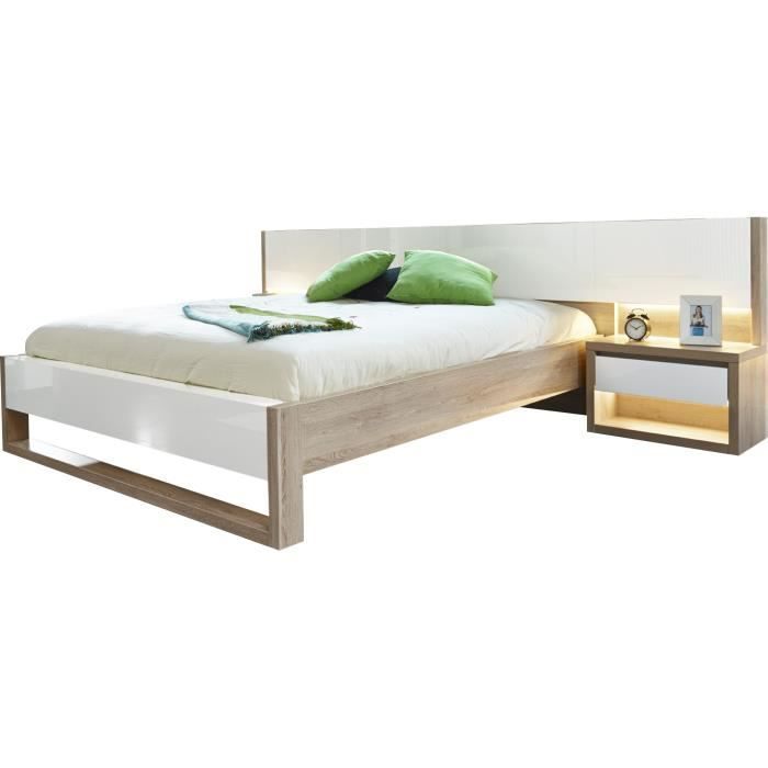 lit 160x200 cm avec 2 chevets coloris ch ne clair et blanc brillant achat vente lit complet. Black Bedroom Furniture Sets. Home Design Ideas