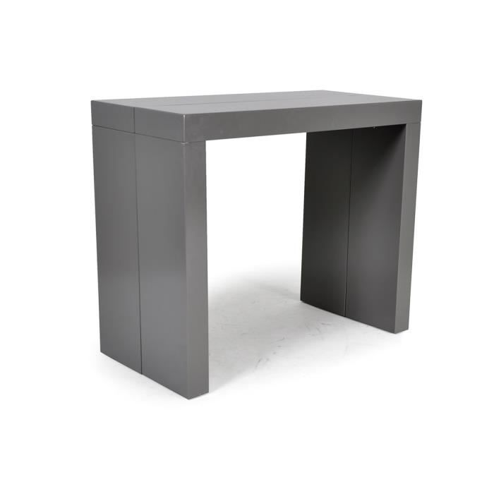 Console table extensible 3 rallonges gris laqu achat - Table console extensible laque ...