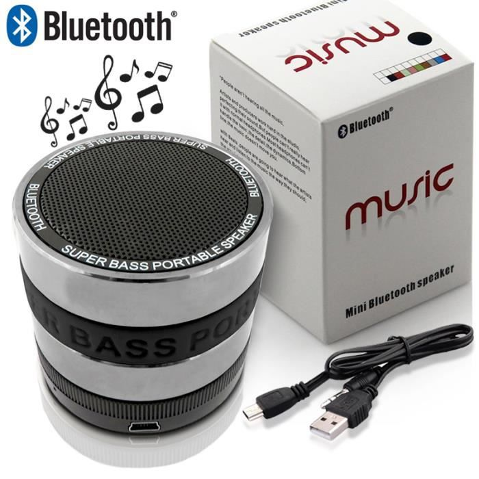 mini enceinte portable bluetooth super bass speaker mp3 radio fm couleur noir pour smartphone. Black Bedroom Furniture Sets. Home Design Ideas