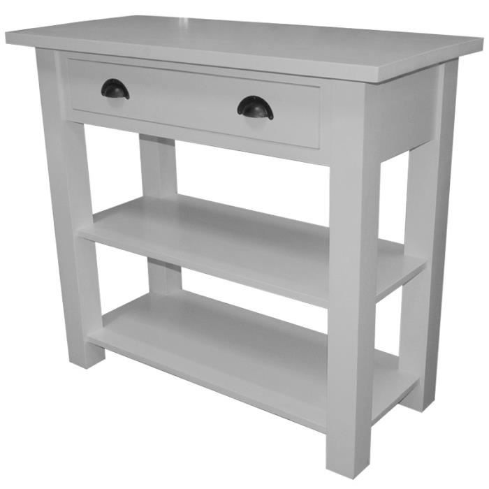 Meuble console 1 tiroir 2 planches en pin massi achat for Meuble coiffeuse fly