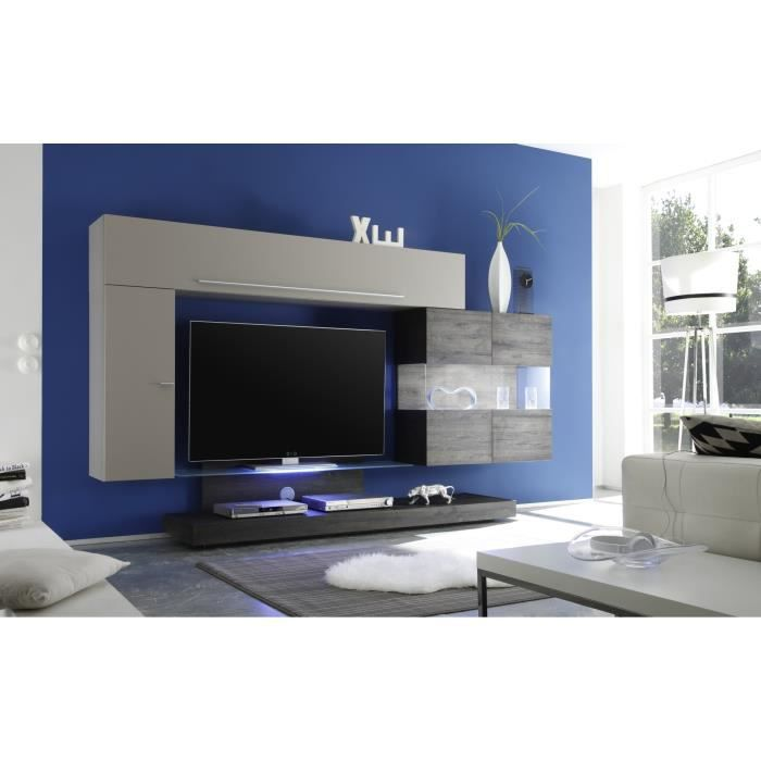 Composition tv murale design gris mat m lamin gris georgia achat vente m - Composition murale tv design ...