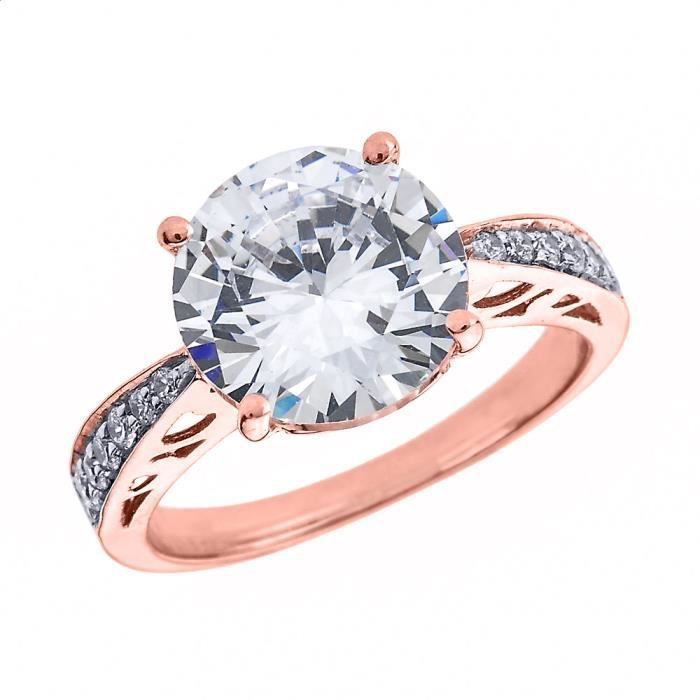 Bague Femme 14 Ct Or Rose 6.0 Ct Oxyde De Zirconium Solitaire