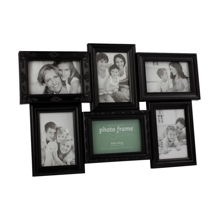 cadre photo p le m le 6 vues noir achat vente cadre photo cdiscount. Black Bedroom Furniture Sets. Home Design Ideas
