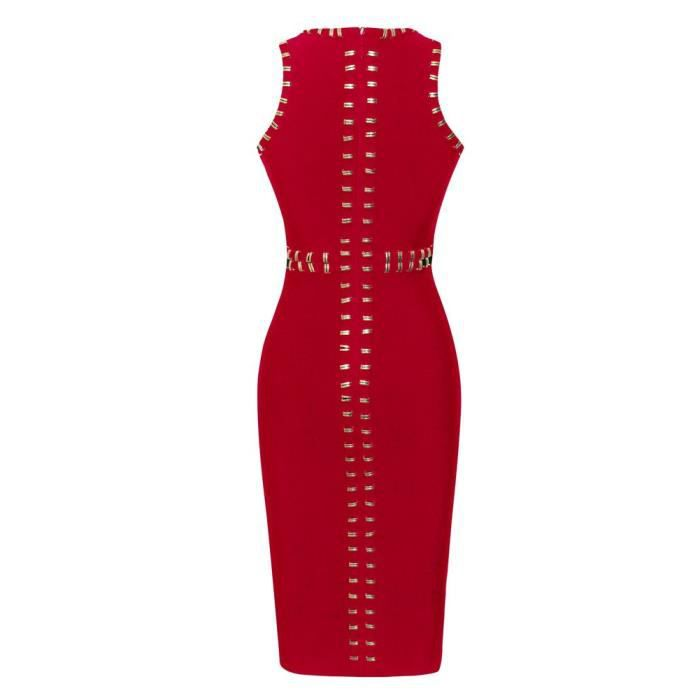 Womens Sleeveless Round Neck Studded Bodycon Bandage Dress With Front Split 2O8VM0 Taille-34