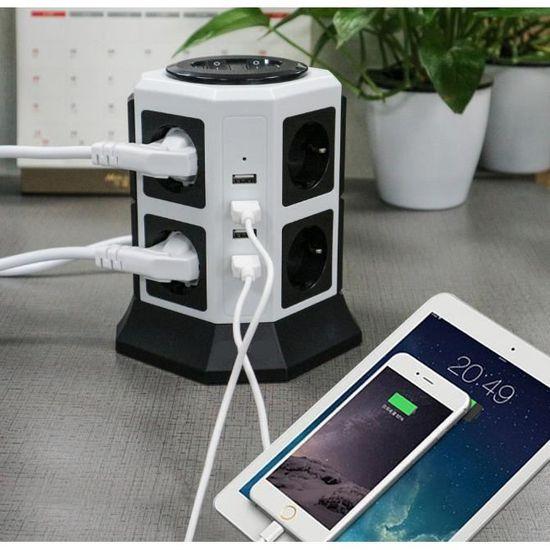 T/él/évision 5V//2.4A Prises Ralonge PC Gamer C/âble 2M pour Smartphone Lampe 30W NVEESHOX Tour Multiprise Electrique Parafoudre Bloc 10 Prises avec 2 USB Tablette et 1 USB-C