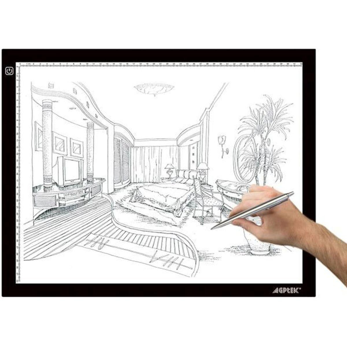 TABLE A DESSIN AGPtek LEGERE Tablette Lumineuse A3 avec Luminosit