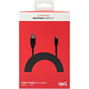 UNDER CONTROL Cable de charge tressé USB TYPE C - Compatible Nintendo SWITCH - Noir