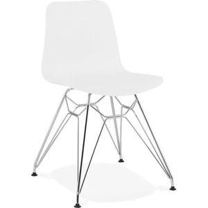 CHAISE Chaise design 'GAUDY' blanche avec pied en métal c