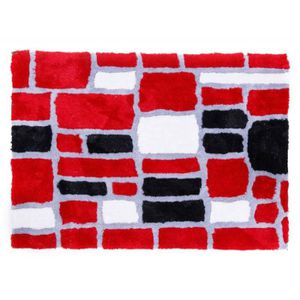 TAPIS Tapis shaggy rouge gris blanc noir 80x150 cm TAP06