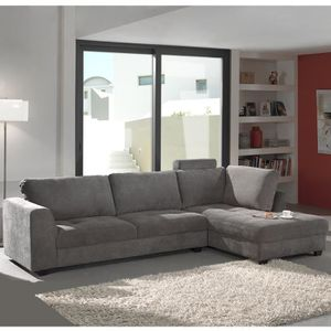 CANAPÉ - SOFA - DIVAN Canapé d'angle gris en tissu ALTA - Avec têtières