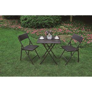 SALON DE JARDIN  Ensemble table et chaises pliant style résine tres