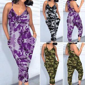 SALOPETTE Femmes Camouflage Jumpsuit col V Sling barboteuses