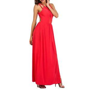 ROBE Mode féminine Pure Color Sexy Slit évider Robe lon