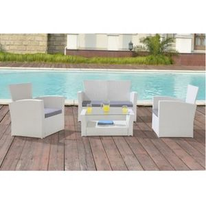 Salon de jardin blanc achat vente salon de jardin for Salon resine blanc