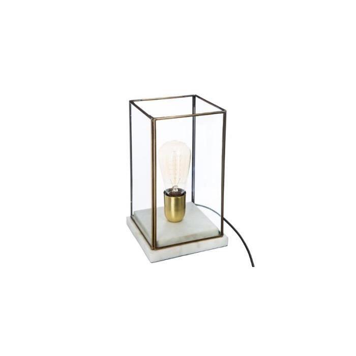 Lampe en verre et marbre - L 15 x l 15 x H 26 cm Transparent