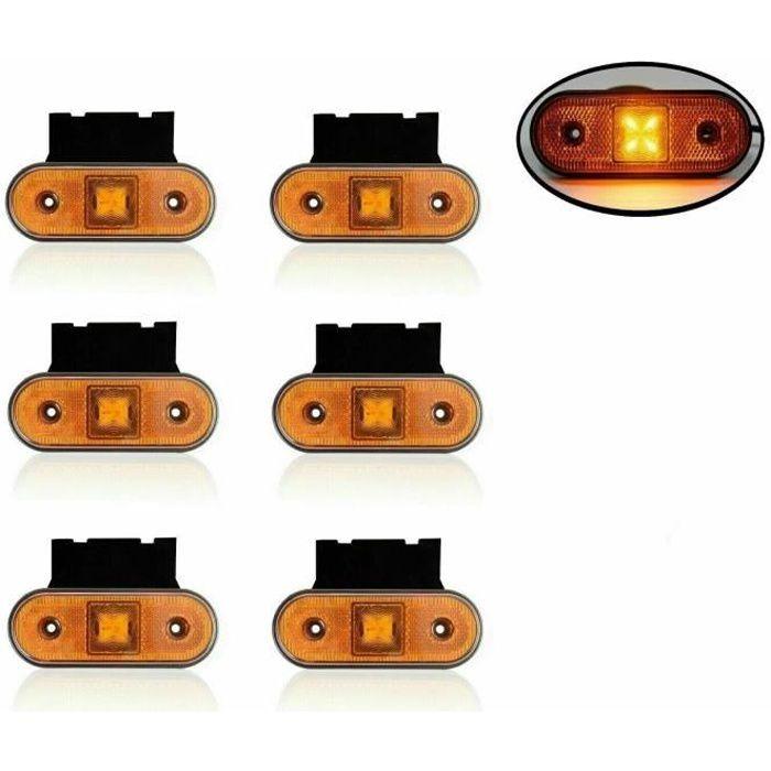 Jeu De 6 Feux De Gabarit Latéraux Ovale 12-24V Orange 4 LED Pour Camion Tracteur