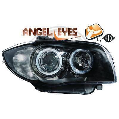 1280580 , Paire de Feux Phares angel eyes noir pour BMW Serie 1 , Coupe , Cabriolet , Berline E81 - 82 - 87 - 88 de 2004 a 2011
