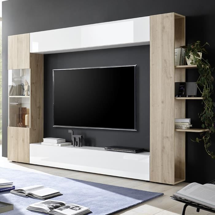 Meuble tv mural blanc et chêne SOPRANO 3