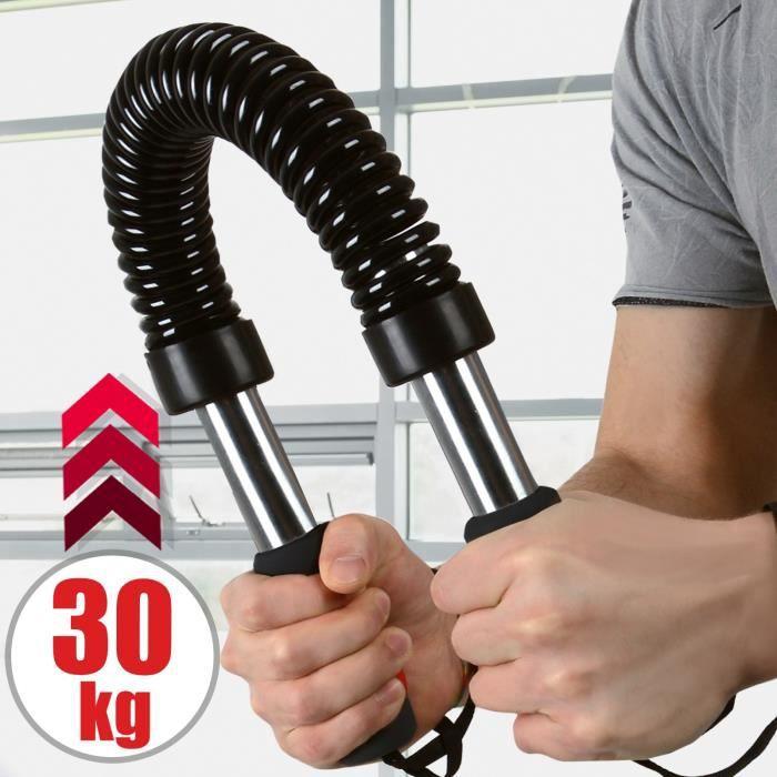 Barre à Ressort Power Twister 30 kg Résistance Musculation des Pectoraux Épaules Appareil Bras Biceps Triceps Poignets