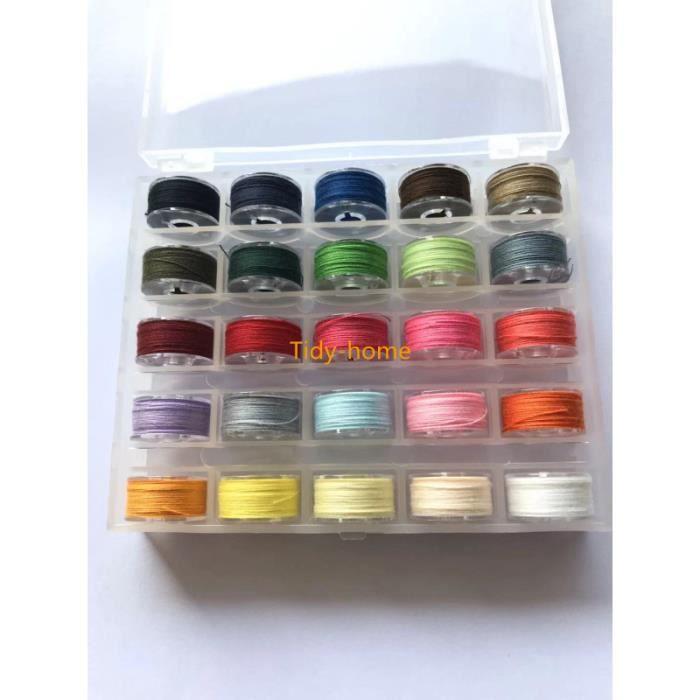 25-36 pièces bobines de couture de canette de fil coloré bobines pré enroulées fil Machine à coudre bobines - Type 25 Colors in box
