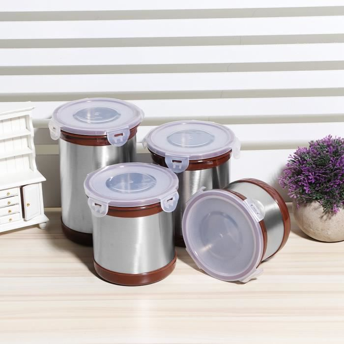 4pcs Pot de cachetage d'acier inoxydable de ménage pour l'écrou de farine de thé de café