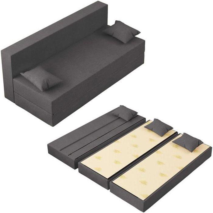 Canapé Lit TreTris Convertible Modulable Réversible 3 places - Tissu dehoussable et lavable Couleur Gris