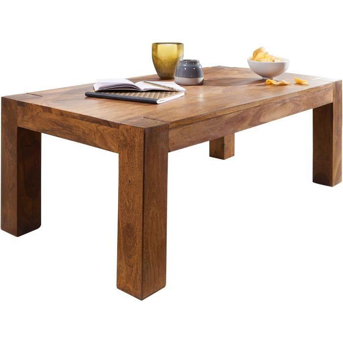 FineBuy Table Basse Bois Massif 110x40x60 cm Table d'appoint Table de salon [Sheesham]