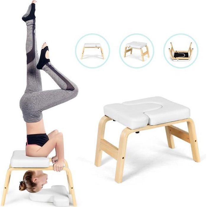 GIANTEX Tabouret d'Inversion de Yoga en Bois et Cuir PVC avec Coussin Amovible pour Entraînement, Fitness et Gymnastique