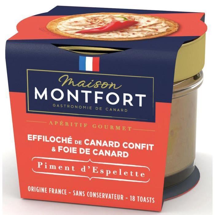 MAISON MONTFORT Effiloché de canard confit au Foie gras - Recette au piment d'espelette - 90 g