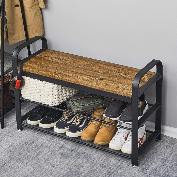 Banc à Chaussures de Style Industriel - Étagère de Rangement - pour Couloir - Vintage - Meerveil