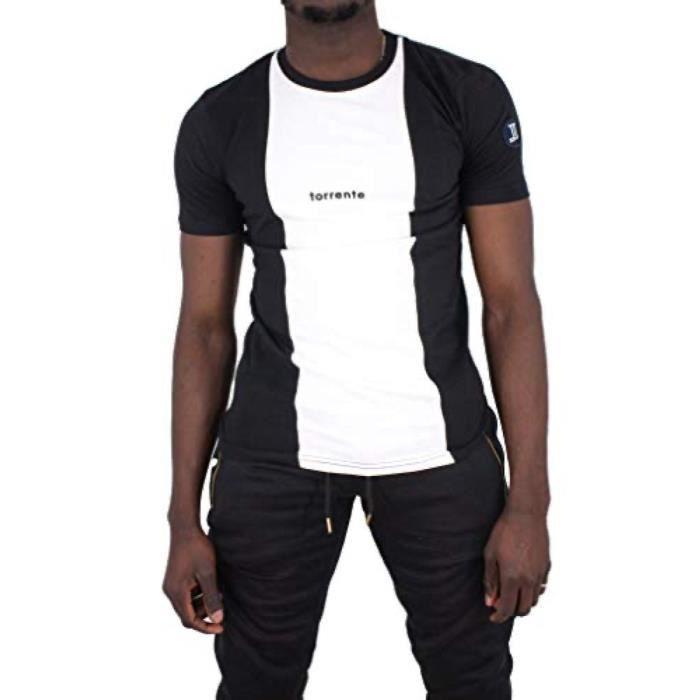 T-shirt manches courtes col rond rayures Torrente Couture Split - Noir