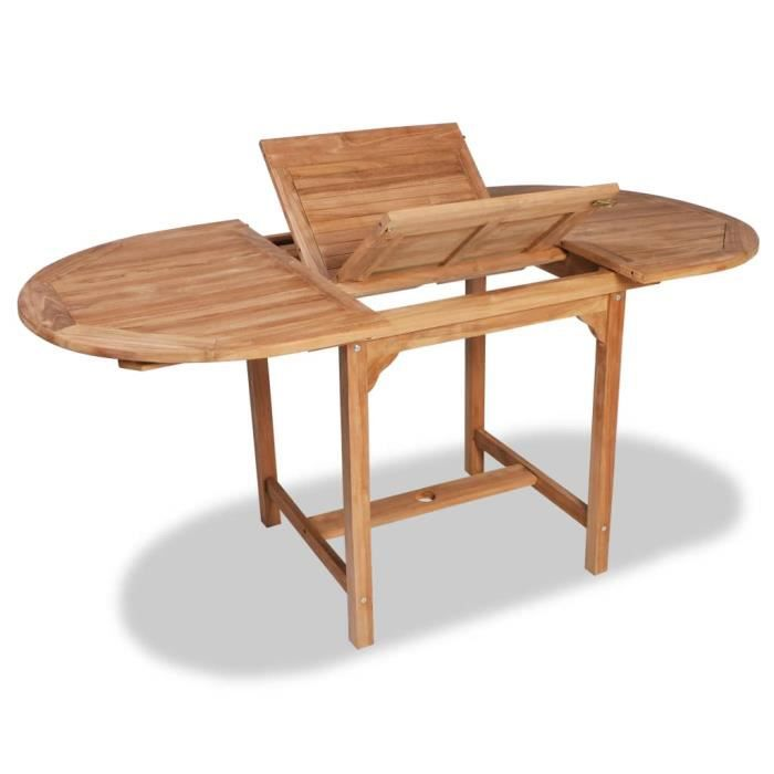 Table extensible à dîner de jardin Teck Ovale (110-160)x80x75cm