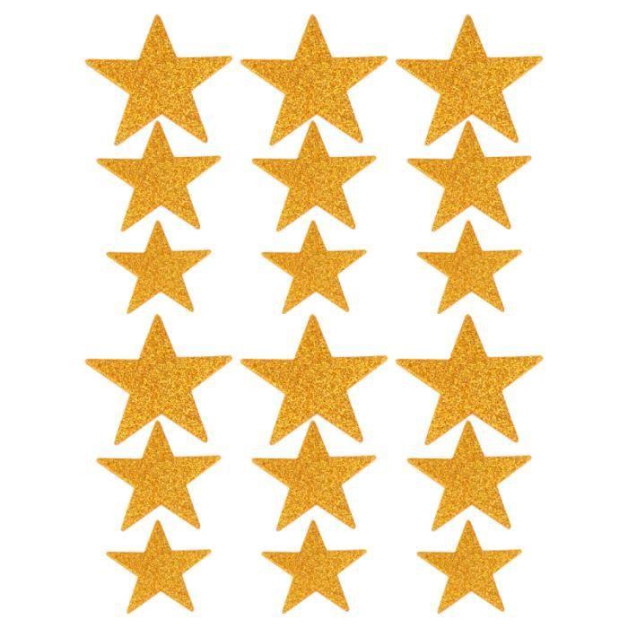 5 paquets de 250 pièces autocollant mural en forme d'étoile à cinq branches scintillant pentagramme en mousse STICKERS DE NOEL