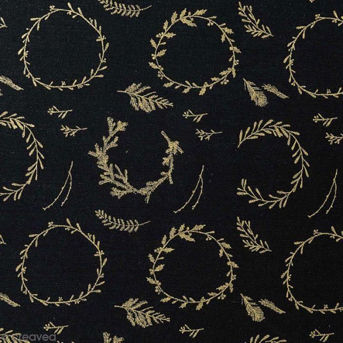 Tissu Rico - Couronnes dorées - Fond noir - Coton - Par 10 cm (sur mesure)