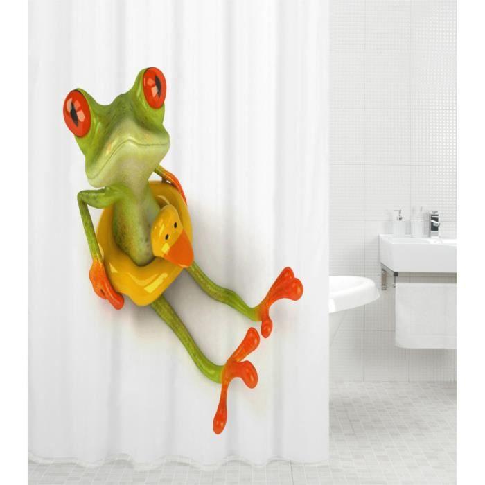 Rideau de douche Froggy 180 x 200 cm - de haute qualité - 12 anneaux inclus - imperméable - effet anti-moisissures