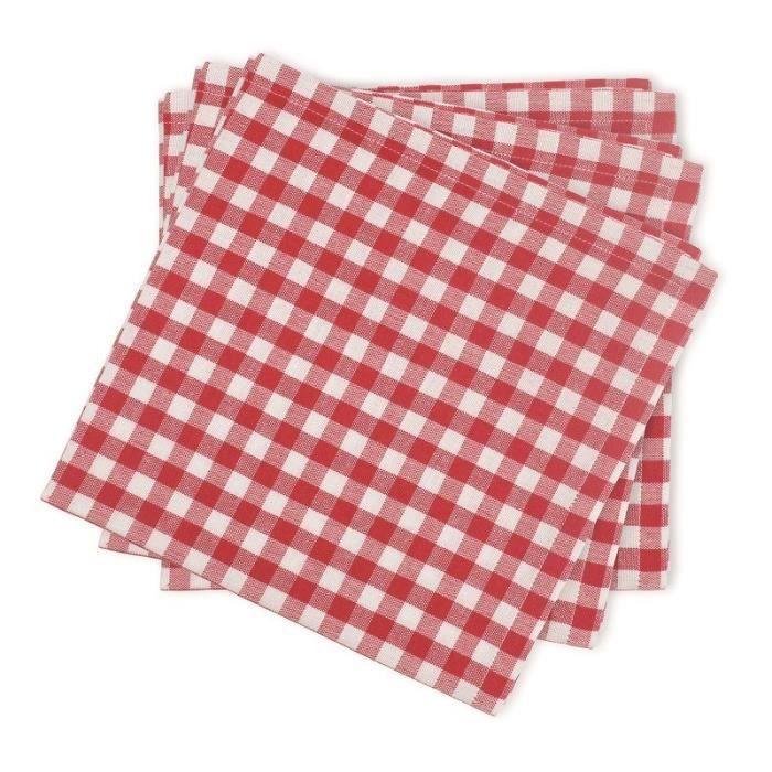 SOLEIL D'OCRE Lot de 3 serviettes de table Vichy 45x45 cm rouge