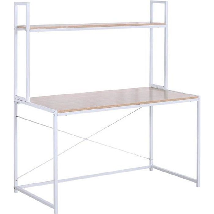 WOLTU Bureau d'ordinateur avec étagère,Table de bureau en acier et en bois, 120x60x140cm,14.6kg,Blanc+chêne clair