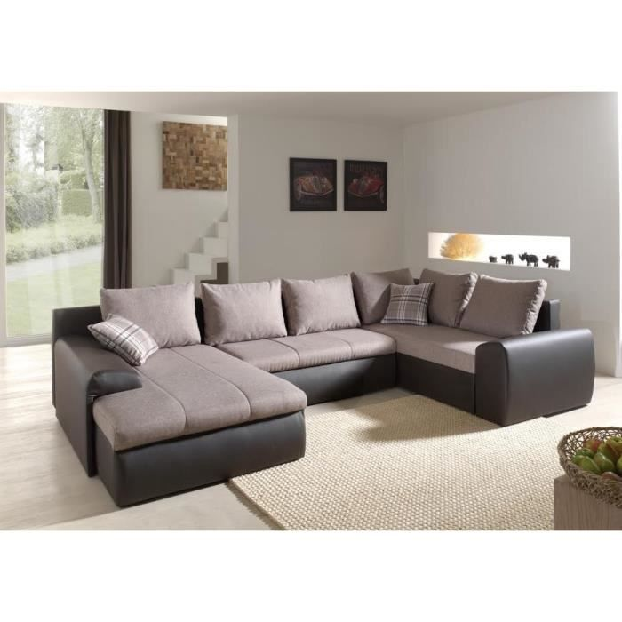 canap d 39 angle panoramique convertible beige et marron killya achat vente canap sofa. Black Bedroom Furniture Sets. Home Design Ideas