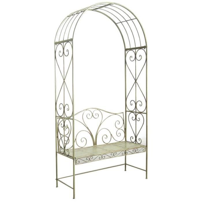 arche de jardin en m tal vert antique avec banc achat vente arche arche de jardin en m tal. Black Bedroom Furniture Sets. Home Design Ideas