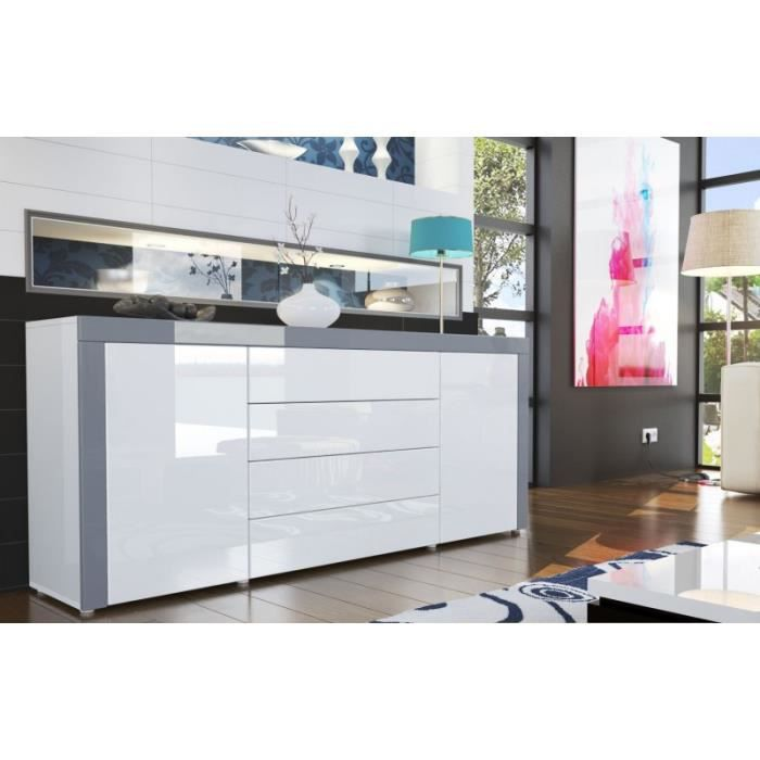 buffet design laqu blanc blanc gris achat vente buffet bahut buffet design laqu blanc. Black Bedroom Furniture Sets. Home Design Ideas